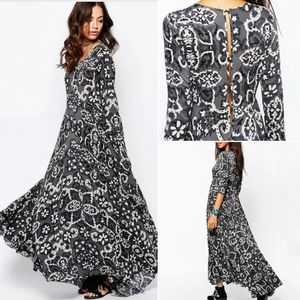 Free People First Kiss Gray Floral Maxi